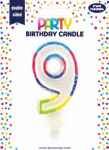 BIRTHDAY CANDLE 9 GLITTERED (6828-9-OBB)