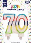 BIRTHDAY CANDLE 70 GLITTERED (6834-70-A)