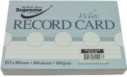 RECORD CARD 6X4 WHITE RULED (RC-0233)