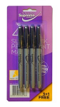 PERMANENT MARKERS 4PK SLIM BLK (PM-2988)
