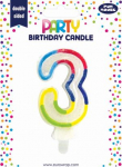 BIRTHDAY CANDLE 3 GLITTERED (6828-3-OBB)