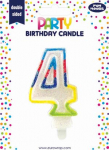 BIRTHDAY CANDLE 4 GLITTERED (6828-4-OBB)